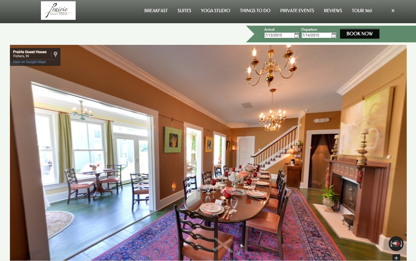 prairie guest house small hotel website design tour
